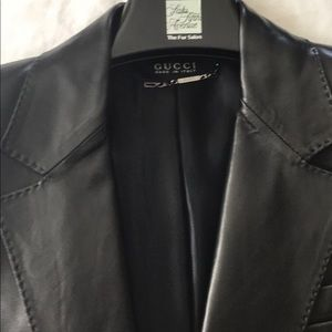Excellent condition. Black Gucci leather jacket